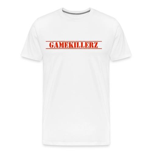 Mens White T-Shirt w/ red logo - Men's Premium T-Shirt