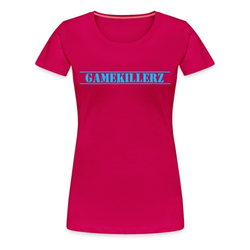 Womens Dark Pink T-Shirt w/ light blue logo - Women's Premium T-Shirt