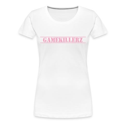 Womens White T-Shirt w/ pink logo - Women's Premium T-Shirt