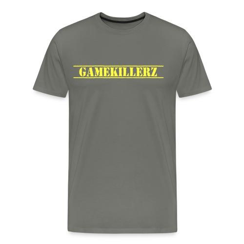 Mens Asphalt T-Shirt w/ yellow logo  - Men's Premium T-Shirt