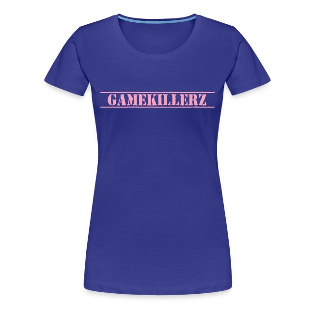 Womens Royal Blue T-Shirt w/ pink logo