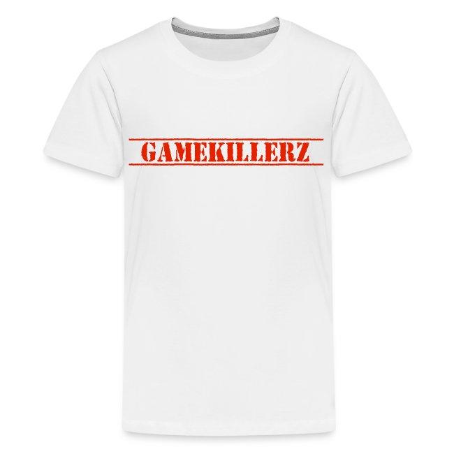 6cbc5395a5 GameKillerzCrew   Kids White T-Shirt w red logo - Kids Premium T-Shirt