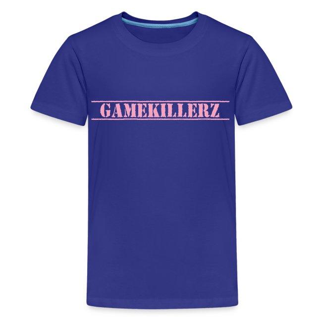 Kids Royal Blue T-Shirt w/ Pink Logo Girl