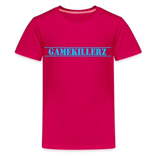 Kids Dark Pink T-Shirt w/ Light Blue Logo Girl - Kids' Premium T-Shirt