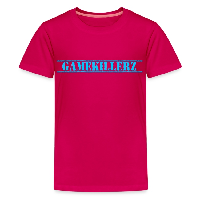 Gamekillerzcrew Kids Dark Pink T Shirt W Light Blue Logo Girl
