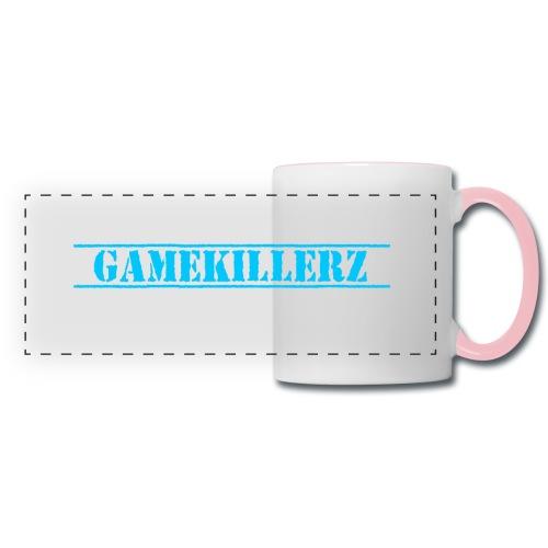 White Coffee Cup w/ Pink Handle & Light Blue Logo - Panoramic Mug