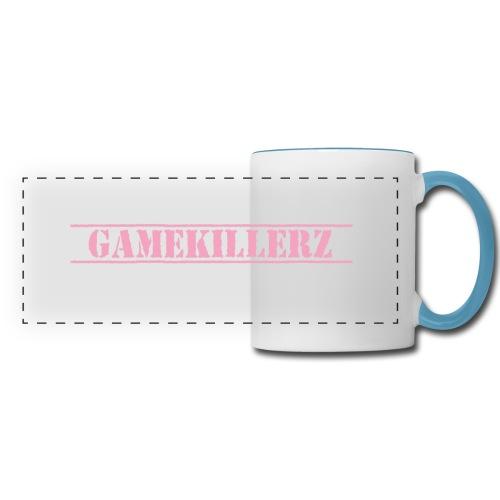 White Coffee Cup with Light Blue Handle & Pink Logo - Panoramic Mug