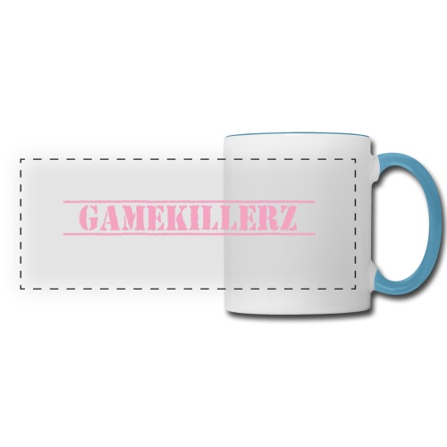 White Coffee Cup with Light Blue Handle & Pink Logo - Panoramic Mug
