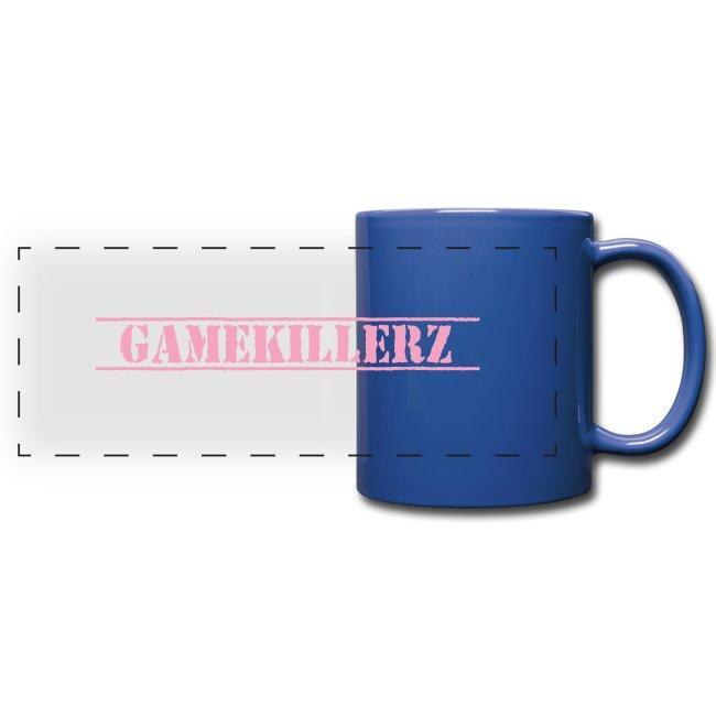 Royal Blue Coffee Cup w/ pink logo