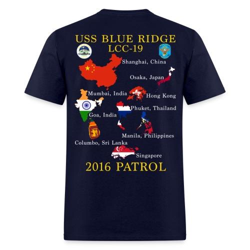 USS BLUE RIDGE LCC-19 2016 SPRING PATROL T-SHIRT  (MAP) - Men's T-Shirt