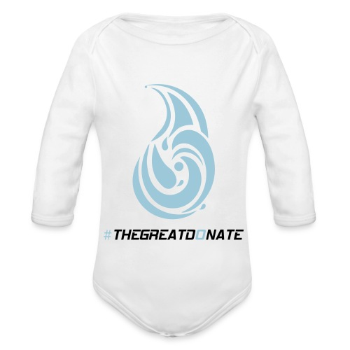 The Great Donate baby jumpsuit blue design - Organic Long Sleeve Baby Bodysuit