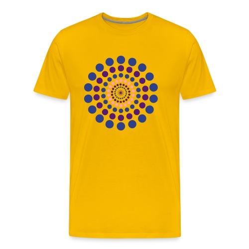 Men's Premium T-Shirt - yoga,target,spots,spot,round,polka dots,pants,orange,dots,circle,center,black