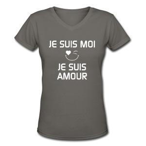 JE SUIS MOI - JE SUIS AMOUR  100%cotton - T-shirt avec encolure en V pour femmes