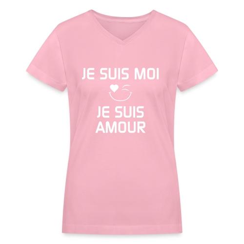 JE SUIS MOI - JE SUIS AMOUR  100%cotton - Women's V-Neck T-Shirt