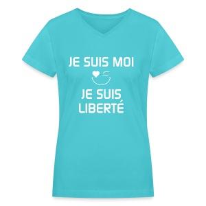 JE SUIS MOI - JE SUIS LIBERTÉ  100%cotton - T-shirt avec encolure en V pour femmes