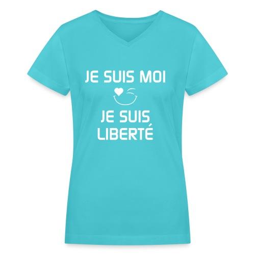 JE SUIS MOI - JE SUIS LIBERTÉ  100%cotton - Women's V-Neck T-Shirt