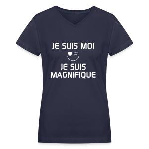 JE SUIS MAGNIFIQUE  100%cotton - T-shirt avec encolure en V pour femmes