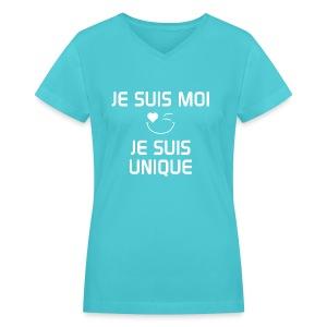 JE SUIS MOI - JE SUIS UNIQUE  100%cotton - T-shirt avec encolure en V pour femmes