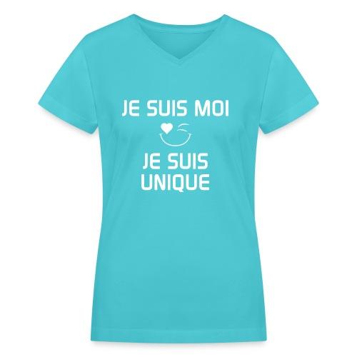 JE SUIS MOI - JE SUIS UNIQUE  100%cotton - Women's V-Neck T-Shirt