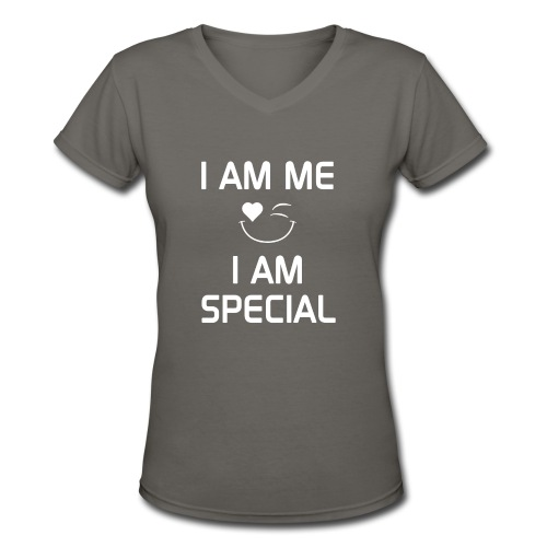 I AM ME - I AM SPECIAL %100 Cotton - Women's V-Neck T-Shirt
