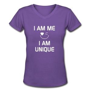I AM ME - I AM UNIQUE  %100 Cotton - Women's V-Neck T-Shirt
