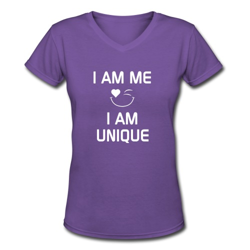 I AM ME - I AM UNIQUE  %100 Cotton - Women's V-Neck T-Shirt