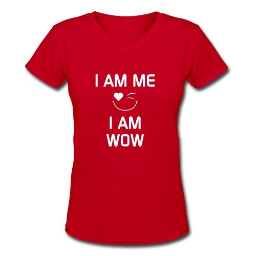 I AM ME-I AM WOW    %100 cotton - Women's V-Neck T-Shirt