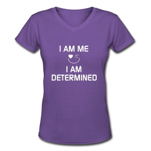 I AM DETERMINED  %100Cotton - Women's V-Neck T-Shirt