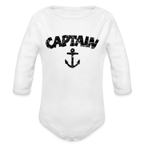 Captain Anchor Baby One Piece (Vintage/Black) - Long Sleeve Baby Bodysuit