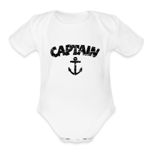 Captain Anchor Baby One Piece (Vintage/Black) - Short Sleeve Baby Bodysuit