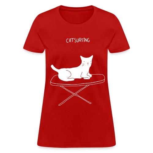 Women Cat Surfing Tee - Women's T-Shirt