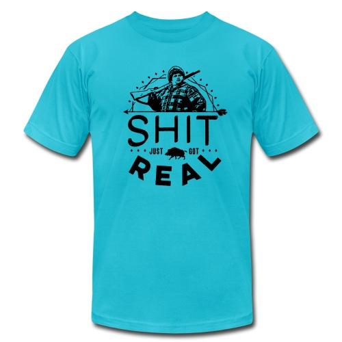 Shit Just Got Real (Men's T-shirt, select colors, black text) - Men's Fine Jersey T-Shirt