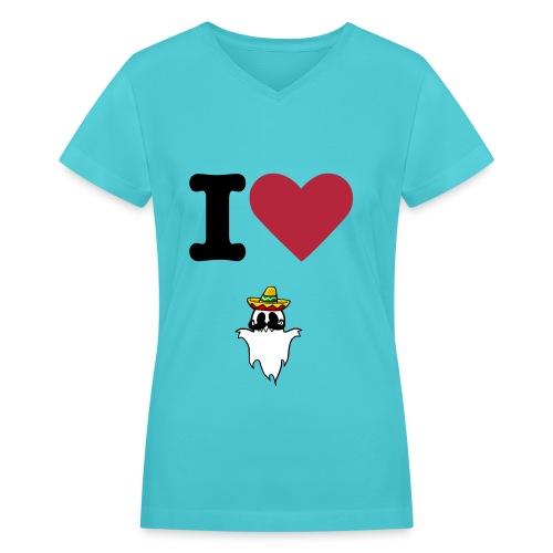 I Heart HispanicGhost Light Blue - Women's V-Neck T-Shirt