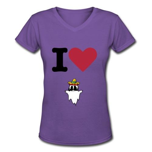 I Heart HispanicGhost Purple - Women's V-Neck T-Shirt
