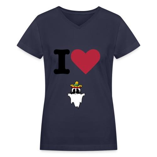 I Heart HispanicGhost Navy - Women's V-Neck T-Shirt