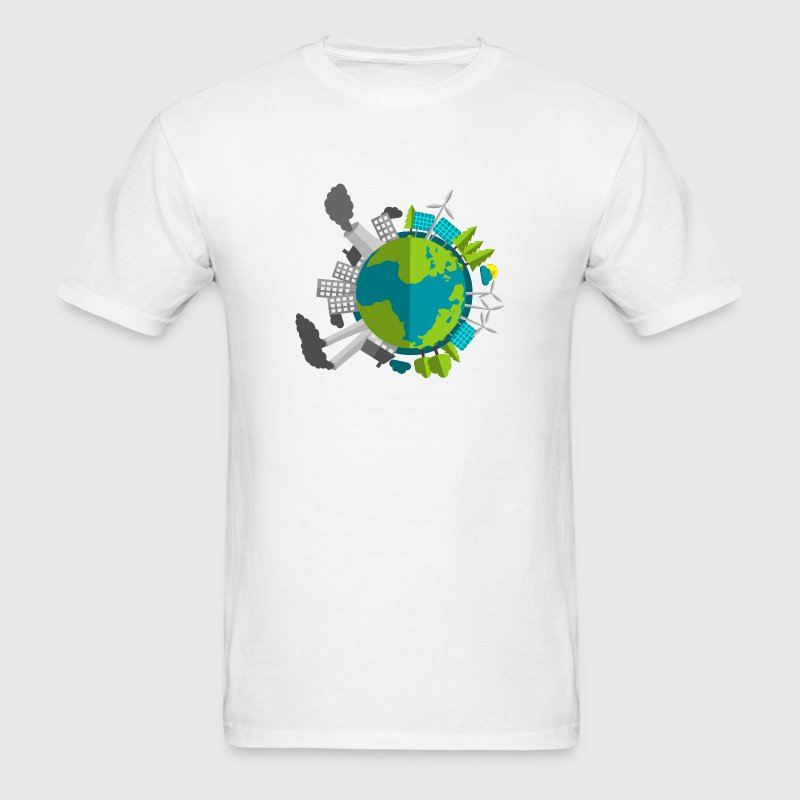 Industry vs Renewable Energy Planet Earth T-Shirts - Men's T-Shirt