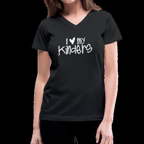 Love My Kinders   Chalk - Women's V-Neck T-Shirt