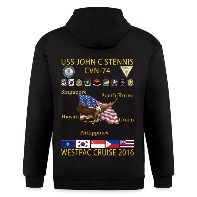 USS JOHN C STENNIS 2016 WESTPAC CRUISE ZIP HOODIE