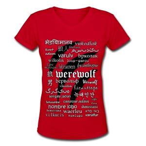 Werewolf in 33 Languages - Women's V-Neck T-Shirt - Women's V-Neck T-Shirt
