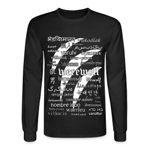 Werewolf in 33 Languages - Men's Long Sleeve T-Shirt (Black Ver.) - Men's Long Sleeve T-Shirt