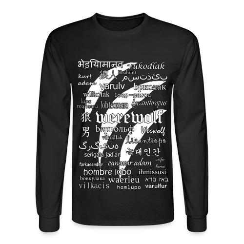 Werewolf in 33 Languages - Men's Long Sleeve T-Shirt (Black Ver.) - Men's Long Sleeve T-Shirt