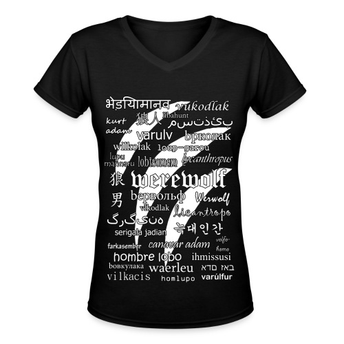 Werewolf in 33 Languages - Women's V-Neck T-Shirt (Black Ver.) - Women's V-Neck T-Shirt