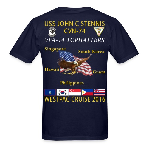 USS JOHN C STENNIS w/ VFA-14 TOPHATTERS 2016 WESTPAC CRUISE SHIRT - Men's T-Shirt