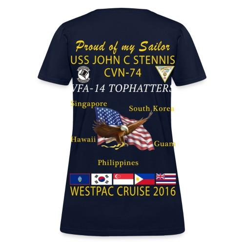 USS JOHN C STENNIS w/ VFA-14 TOPHATTERS 2016 WESTPAC CRUISE SHIRT - WOMEN'S FAMILY VERSION - Women's T-Shirt