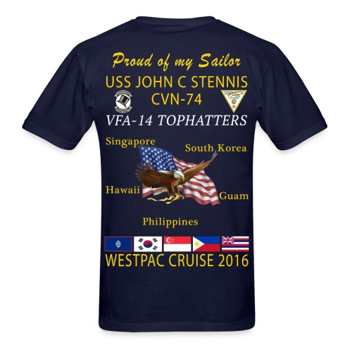 USS JOHN C STENNIS w/ VFA-14 TOPHATTERS 2016 WESTPAC CRUISE SHIRT - FAMILY VERSION - Men's T-Shirt