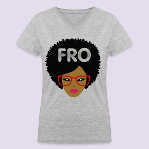 Fro Girl Tee - Women's V-Neck T-Shirt
