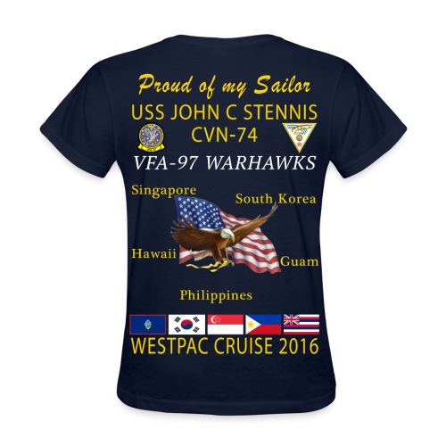USS JOHN C STENNIS w/ VFA-97 WARHAWKS 2016 WESTPAC CRUISE SHIRT - WOMEN'S FAMILY VERSION - Women's T-Shirt