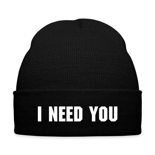 I NEED YOU - Knit Cap with Cuff Print