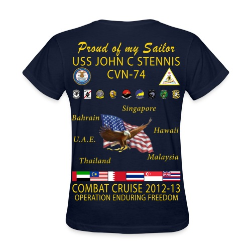 USS JOHN C STENNIS 2012-13 CRUISE SHIRT - FAMILY EDITION - Women's T-Shirt