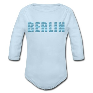 BERLIN lines-font - Long Sleeve Baby Bodysuit